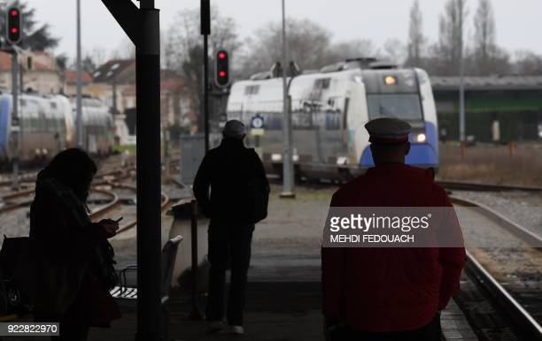 General view of the platform at Bergerac train station on February 20 as the line which serves the station is under the cloud of possible closure as...