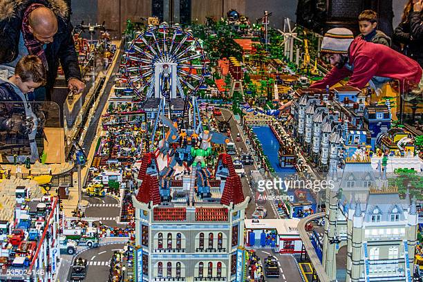 A general view of the platform in which are placed the Lego buildings in the San Gregorio Church on december 2015 an exposition of Lego buildings on...