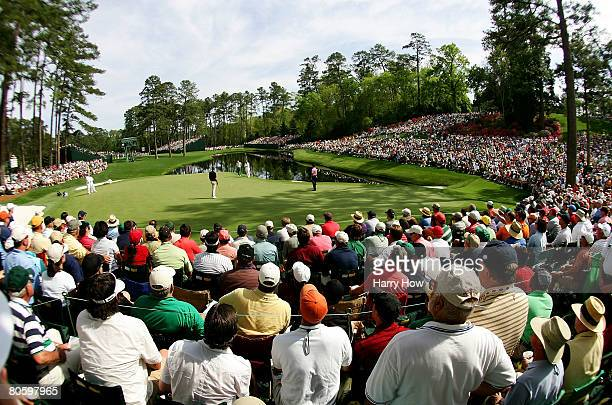 A general view of the play at the 16th hole during the first round of the 2008 Masters Tournament at Augusta National Golf Club on April 10 2008 in...