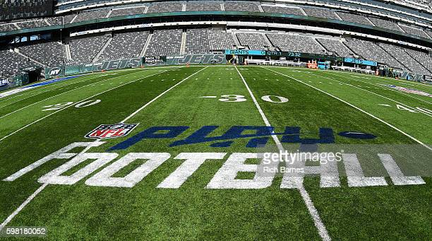 General view of the Play Football logo inside of MetLife Stadium prior to a preseason game between the New York Giants and the New York Jets on...
