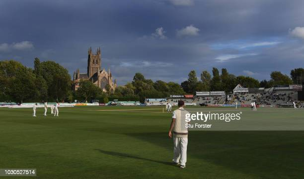 A general view of the play infront of the cathedral during day one of the Specsavers County Championship Division One match between Worcestershire...