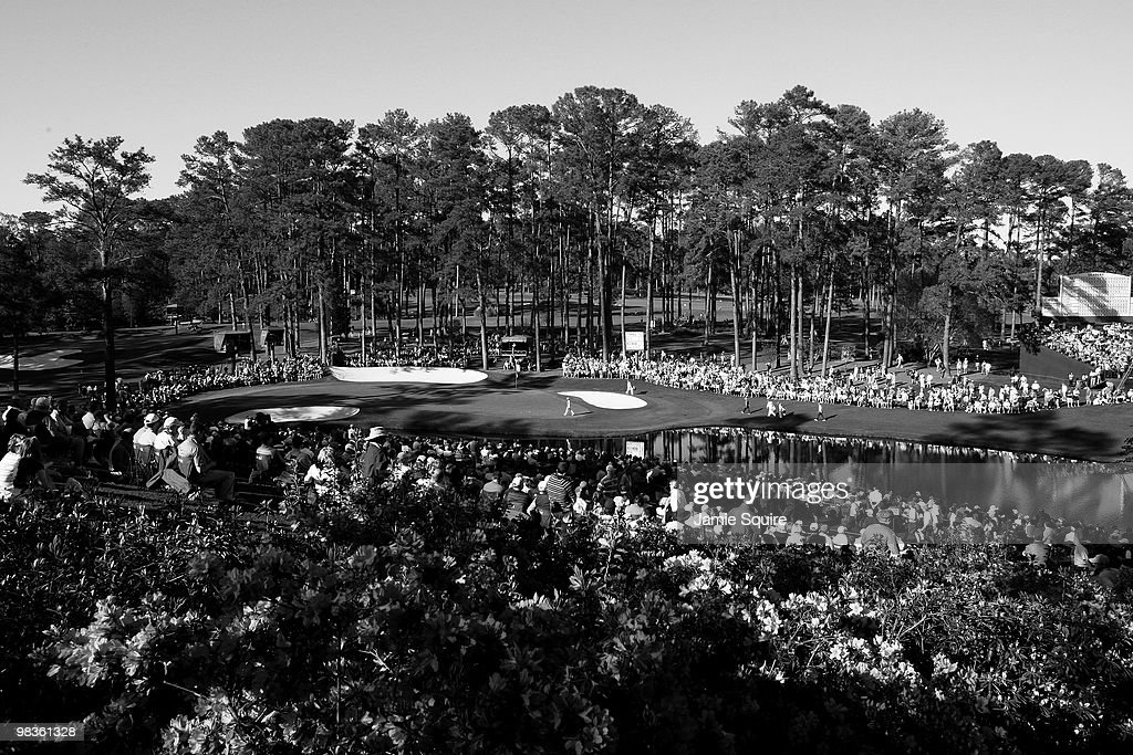 A general view of the play on the 16th hole during the second round of the 2010 Masters Tournament at Augusta National Golf Club on April 9, 2010 in Augusta, Georgia.