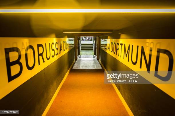 General view of the player tunnel prior to the UEFA Europa League Round of 16 match between Borussia Dortmund and FC Red Bull Salzburg at the Signal...