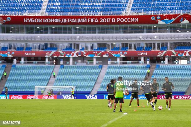 A general view of the players during the Mexico training session at the FIFA Confederations Cup Russia 2017 held at Fisht Olympic Stadium on June 20...