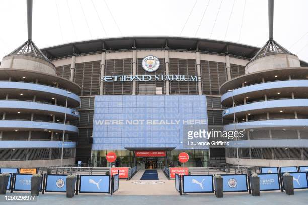 General view of the players entrance prior to the Premier League match between Manchester City and Arsenal FC at Etihad Stadium on June 17, 2020 in...