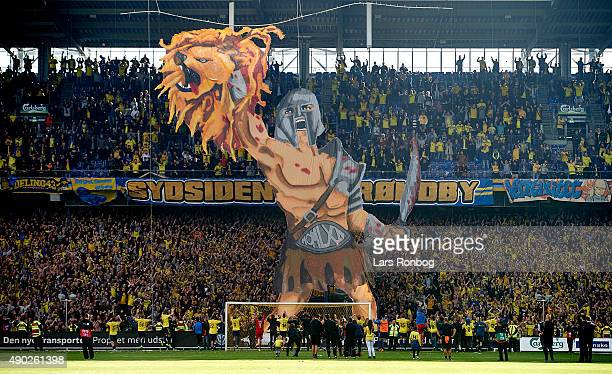 General view of the players of Brondby IF celebrating with the fans in front of a giant tifo after the Danish Alka Superliga match between Brondby IF...