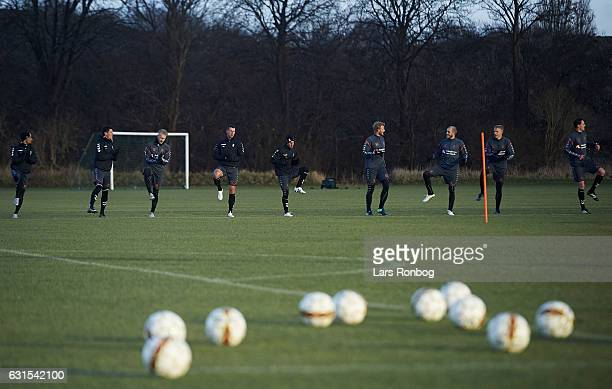 General view of THE PLAYERS of Brondby IF training warming up during the Brondby IF training session at Brondby Stadion on January 12 2017 in Brondby...