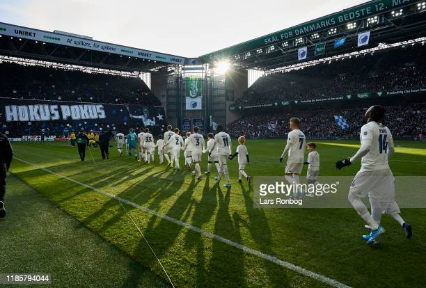 General view of the players of Brondby IF walking on to the pitch prior to the Danish 3F Superliga match between FC Copenhagen and Brondby IF at...