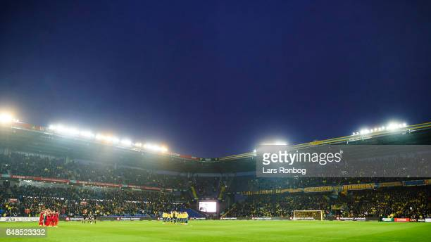 General view of the players of Brondby in respect for Thorvald Jacobsen prior to the Danish Alka Superliga match between Brondby IF and FC...