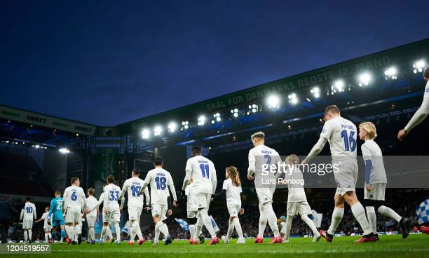 General view of the players of FC Copenhagen walking on to the pitch prior to the Danish 3F Superliga match between FC Copenhagen and AaB Aalborg at...