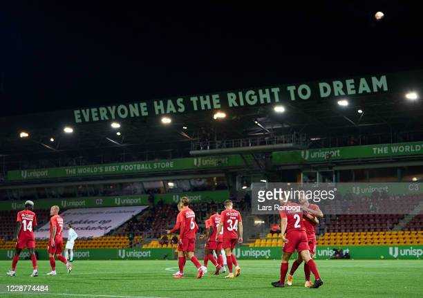 General view of the players of FC Nordsjalland celebrating during the Danish 3F Superliga match between FC Nordsjalland and Lyngby Boldklub at Right...