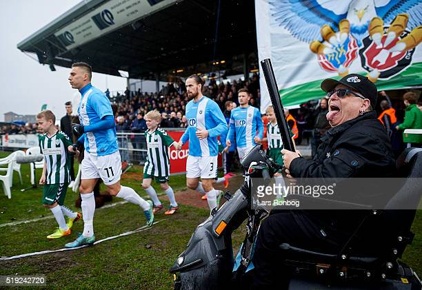 General view of the players of FC Roskilde running on to the pitch prior to the Danish cup DBU Pokalen match between FC Roskilde and AaB Aalborg at...