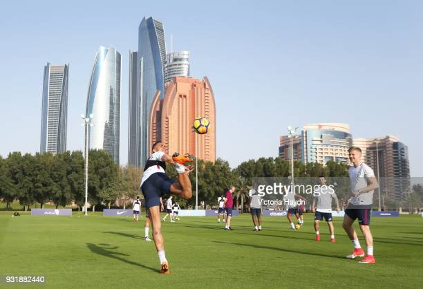 A general view of the players of Manchester City during the Abu Dhabi Warm Weather Training Camp on March 13 2018 in Abu Dhabi United Arab Emirates