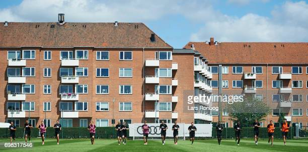 General view of the players training during the FC Copenhagen training session at KB's baner on June 20 2017 in Frederiksberg Denmark