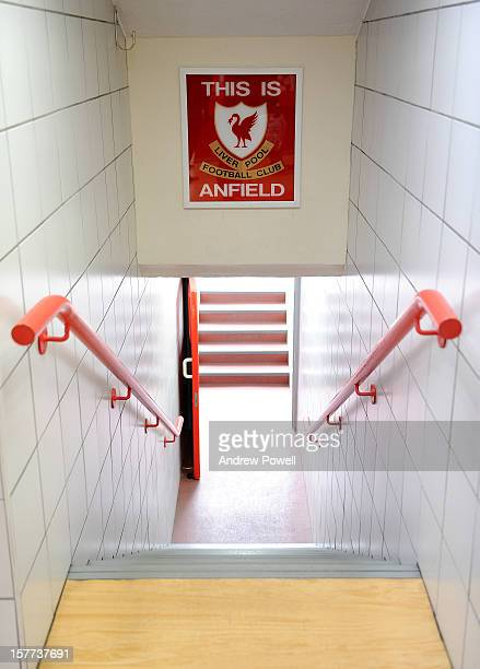 A General view of the players tunnel and 'This is Anfield' sign inside Anfield Stadiumthe home of Liverpool FC on September 17 2012 in...