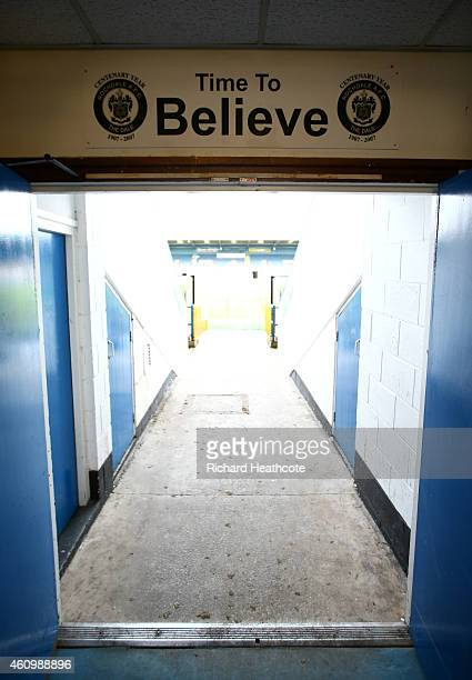A general view of the players' tunnel before the FA Cup Third Round match between Rochdale and Nottingham Forest at Spotland Stadium on January 3...