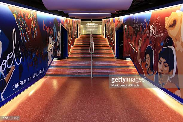 A general view of the players' tunnel prior to the UEFA Champions League Round of 16 match between FC Barcelona and Manchester City at Camp Nou on...