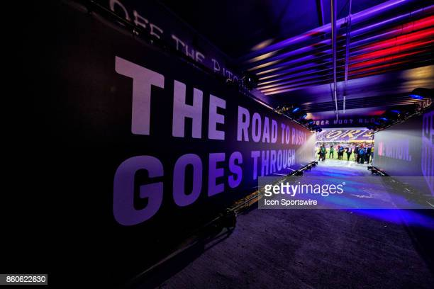 A general view of the players tunnel the reads The Road to Russia goes through Orlando is seen during the World Cup Qualifying match between the the...