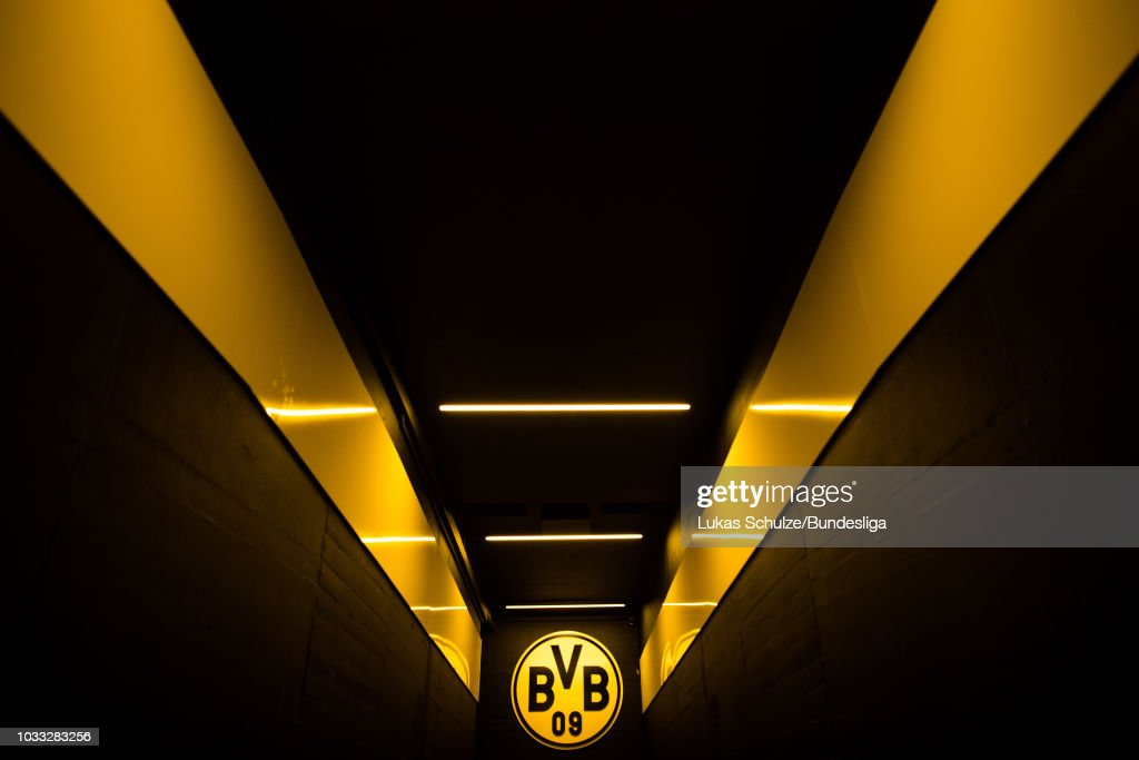 General view of the players tunnel with the logo of BVB prior to the Bundesliga match between Borussia Dortmund and Eintracht Frankfurt at Signal Iduna Park on September 14, 2018 in Dortmund, Germany.