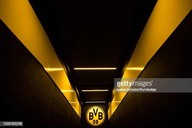 General view of the players tunnel with the logo of BVB prior to the Bundesliga match between Borussia Dortmund and Eintracht Frankfurt at Signal...