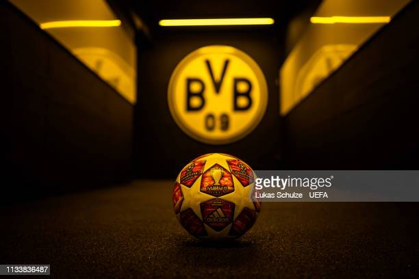 General view of the players tunnel with the official match ball inside the stadium prior to the UEFA Champions League Round of 16 Second Leg match...