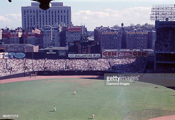 A general view of the playing field and action during Game Two of the World Series on September 29 1955 between the Brooklyn Dodgers and the New York...