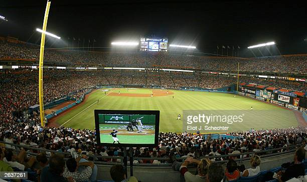 General view of the playing field from the press box of game five of the Major League Baseball World Series between the New York Yankees and the...