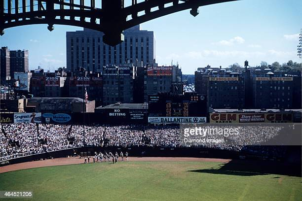 A general view of the playing field from the upper deck as the marching band plays the national anthem prior to Game Two of the World Series on...