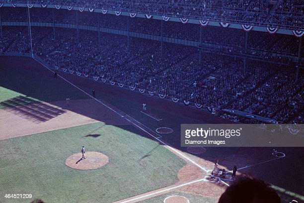 A general view of the playing field from the upper deck during the bottom of the first inning of Game Two of the World Series on September 29 1955...
