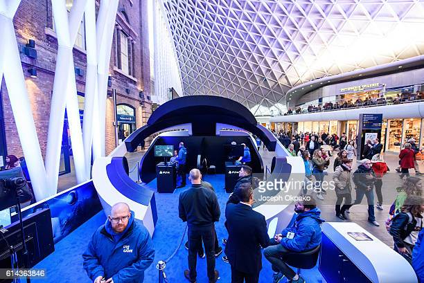 A general view of the PlayStation VR headset booth developed by Sony Interactive Entertainment LLC to experience a 360degree game in virtual reality...
