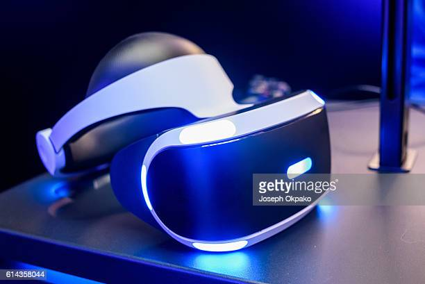 A general view of the PlayStation VR headset developed by Sony Interactive Entertainment LLC to experience virtual reality during a launch event...