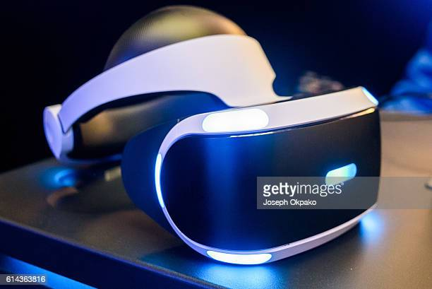 A general view of the PlayStation VR headset developed by Sony Interactive Entertainment LLC to experience virtual reality during a launch event at...