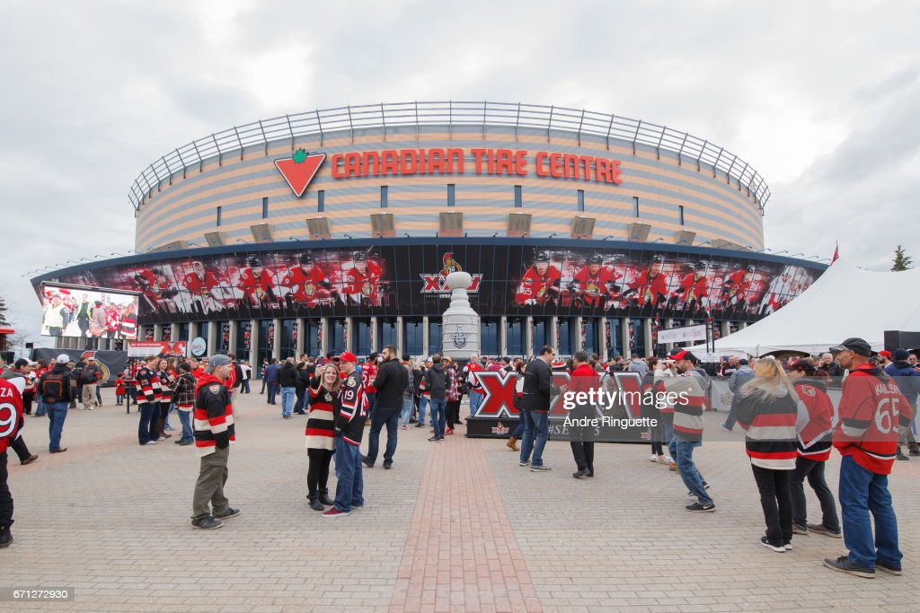 A general view of the plaza in front of Canadian Tire Centre with fans before the Ottawa Senators play against the Boston Bruins in Game Five of the Eastern Conference First Round during the 2017 NHL Stanley Cup Playoffs at Canadian Tire Centre on April 21, 2017 in Ottawa, Ontario, Canada.
