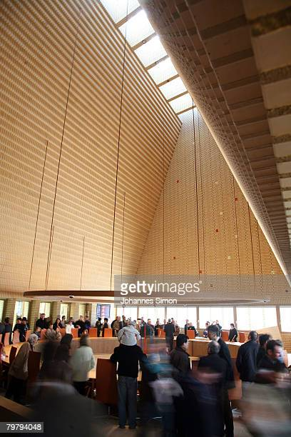 General view of the plenary hall of the newly erected Liechtenstein Parliamentary Building seen during a general opening to the public on February 16...