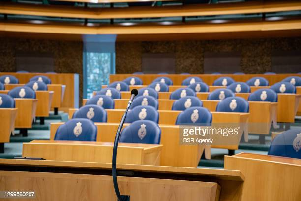 General view of the plenary room seen during the plenary debate in the Tweede Kamer parliament about the resignation of the Rutte administration on...