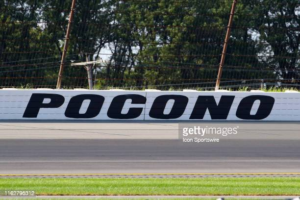 A general view of the POCONO sign during the IndyCar Series ABC Supply 500 on August 18 2019 at Pocono Raceway in Long Pond Pa