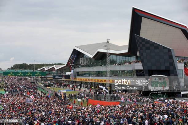 General view of the podium as race winner Lewis Hamilton of Great Britain and Mercedes GP, second placed Valtteri Bottas of Finland and Mercedes GP...