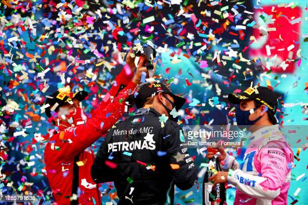 General view of the podium as race winner Lewis Hamilton of Great Britain and Mercedes GP celebrates winning a 7th F1 World Drivers Championship with...