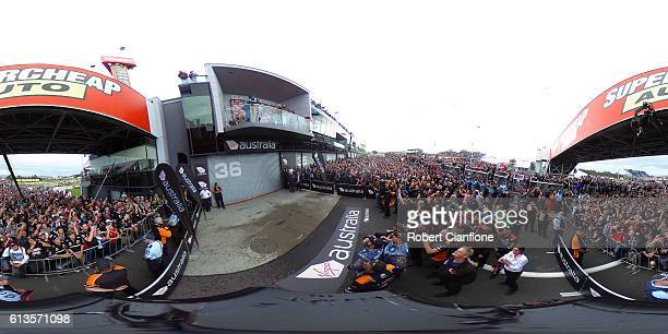 A general view of the podium at the Bathurst 1000 which is race 21 of the Supercars Championship at Mount Panorama on October 9 2016 in Bathurst...