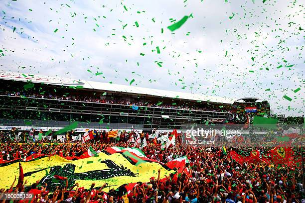 General view of the podium celebrations as Sebastian Vettel of Germany and Infiniti Red Bull Racing wins the Italian Formula One Grand Prix at...