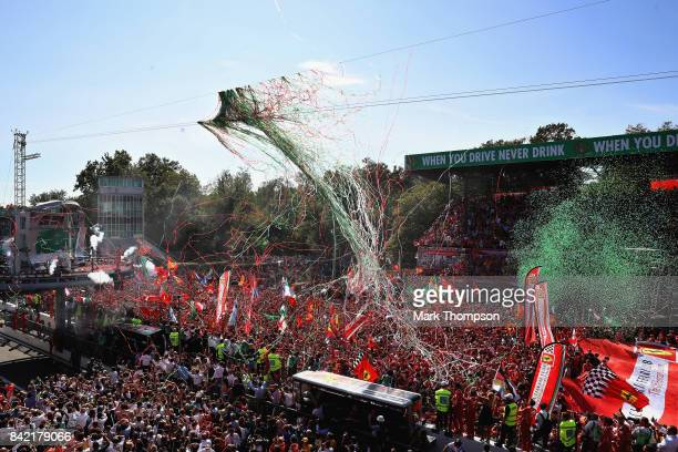 A general view of the podium celebrations during the Formula One Grand Prix of Italy at Autodromo di Monza on September 3 2017 in Monza Italy