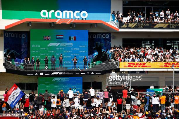 General view of the podium celebrations with race winner Max Verstappen of Netherlands and Red Bull Racing, second placed Lewis Hamilton of Great...