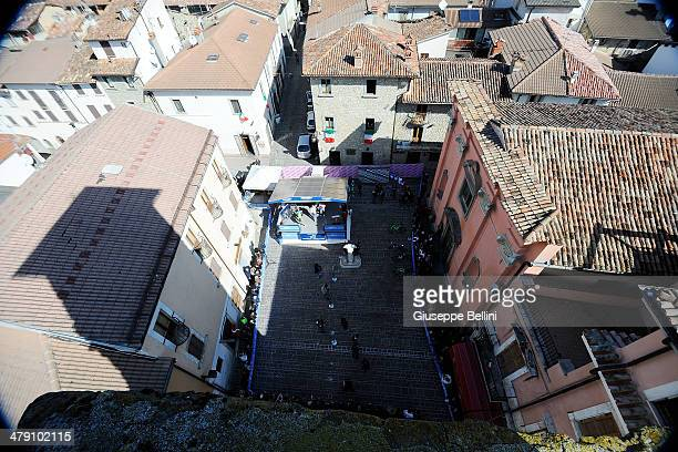 General view of the podium signature before stage five of the 2014 Tirreno Adriatico a 192 km stage from Amatrice to Guardiagrele on March 16 2014 in...