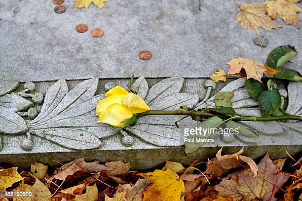 A general view of the poet Robert Frost gravesite at the First Congregational Church of Bennington Cemetary on October 31 2014 in Bennington Vermont