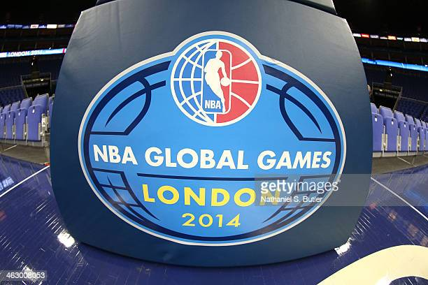 A general view of the polepad logo in the game of the Brooklyn Nets against the Atlanta Hawks as part of the 2014 Global Games on January 16 2014 at...