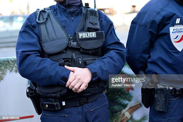 A general view of the police forces as newly appointed Minister of Interior Bruno Le Roux visits the security forces at the Christmas market on the...