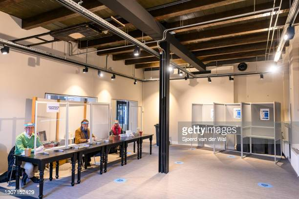 General view of the polling station inside the Kampen library for the general elections for the House of Representatives - Tweede Kamer - for the...