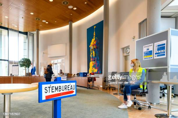 General view of the polling station inside the Kampen town hall for the general elections for theHouse of Representatives- Tweede Kamer - for the...