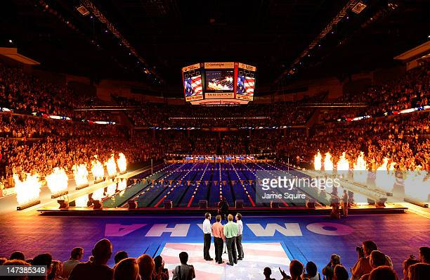 A general view of the pool and arena during the performance of the National Anthem during Day Four of the 2012 US Olympic Swimming Team Trials at...