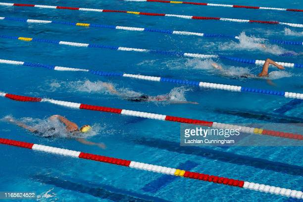 General view of the pool as swimmers race during day 2 of the Phillips 66 National Championships on August 01, 2019 in Stanford, California.